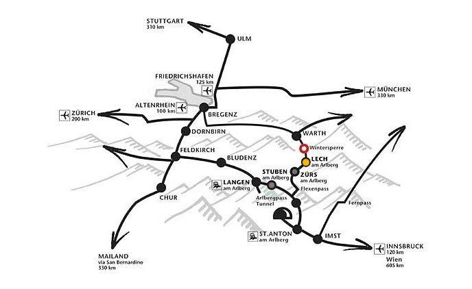 Anreise nach Lech Zürs - Appartements Andera - Lech am Arlberg